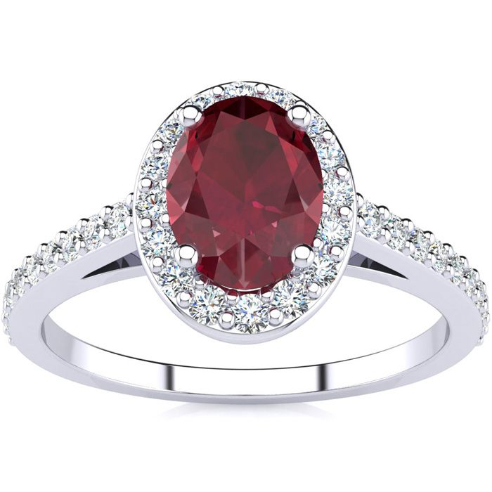 1.25 Carat Oval Shape Ruby & Halo Diamond Ring in 14K White Gold