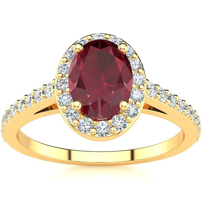 1.25 Carat Oval Shape Ruby & Halo Diamond Ring in 14K Yellow Gold