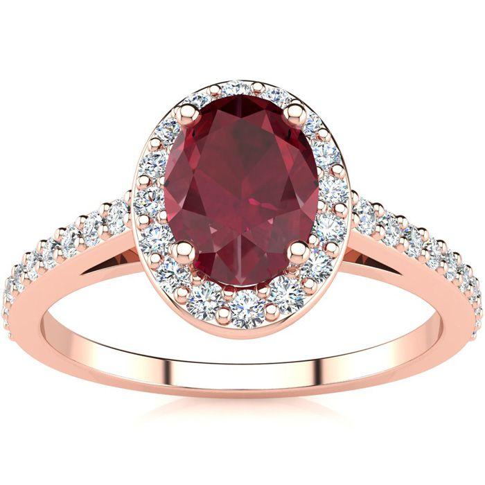1.25 Carat Oval Shape Ruby & Halo Diamond Ring in 14K Rose Gold (