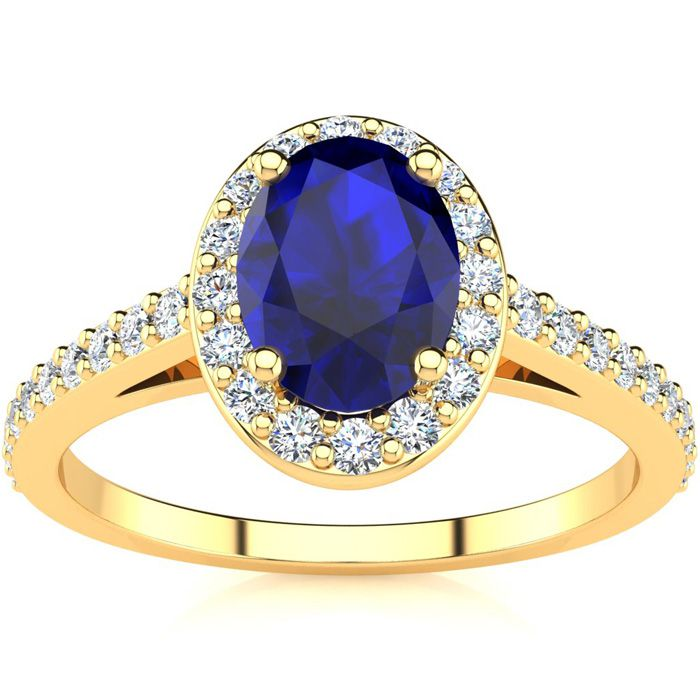 1 1/3 Carat Oval Shape Sapphire & Halo Diamond Ring in 14K Yellow