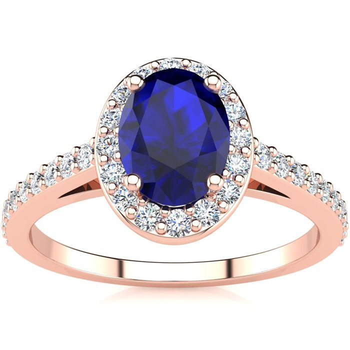 1 1/3 Carat Oval Shape Sapphire & Halo Diamond Ring in 14K Rose Gold (2.8 g), H/I by SuperJeweler