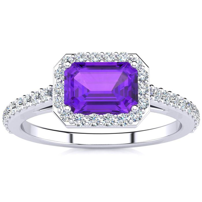 1 1/4 Carat Emerald Shape Amethyst and Halo Diamond Ring In 14 Karat White Gold
