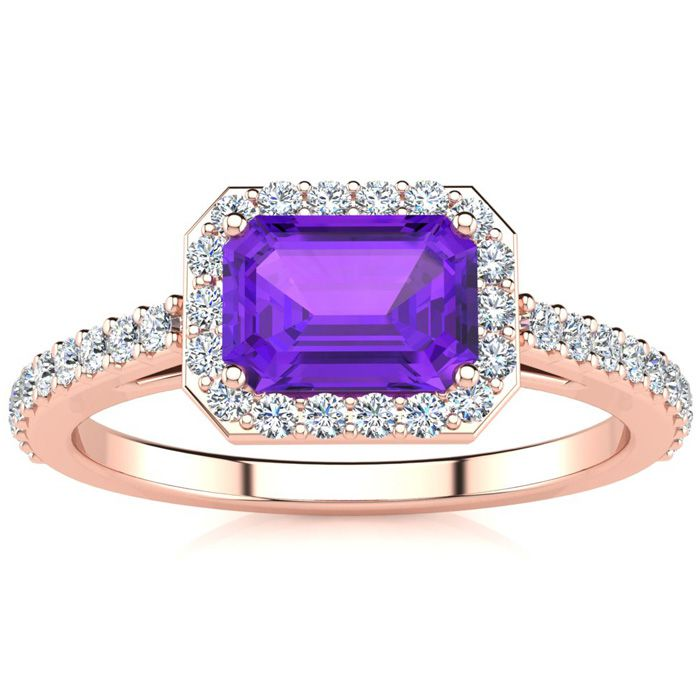 1 1/4 Carat Emerald Shape Amethyst and Halo Diamond Ring In 14 Karat Rose Gold