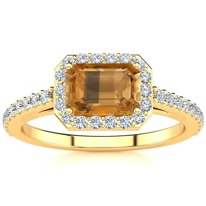 1.25 Carat Citrine & Halo Diamond Ring in 14K Yellow Gold (2.8 g)