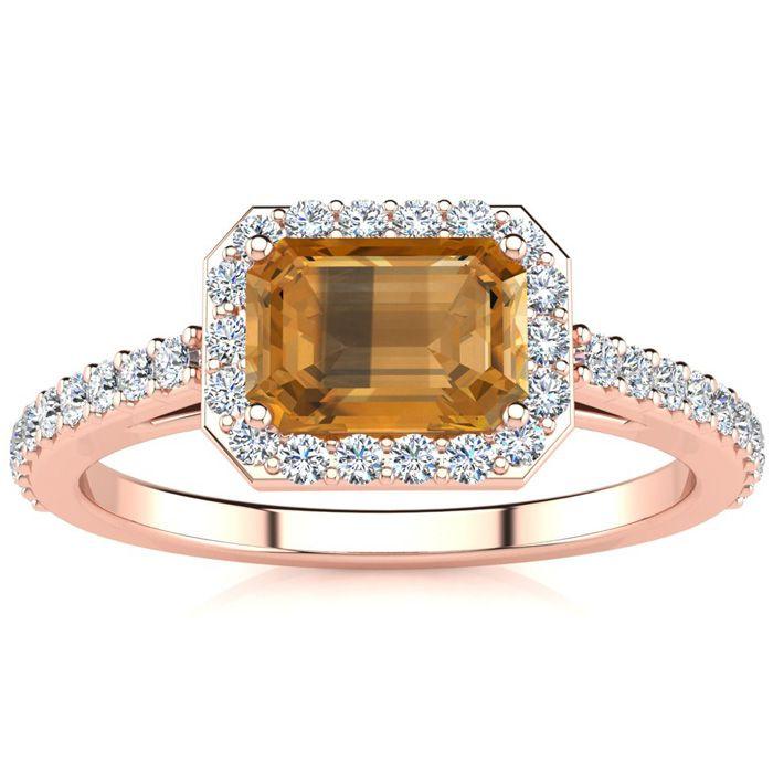 1 1/4 Carat Emerald Shape Citrine and Halo Diamond Ring In 14 Karat Rose Gold