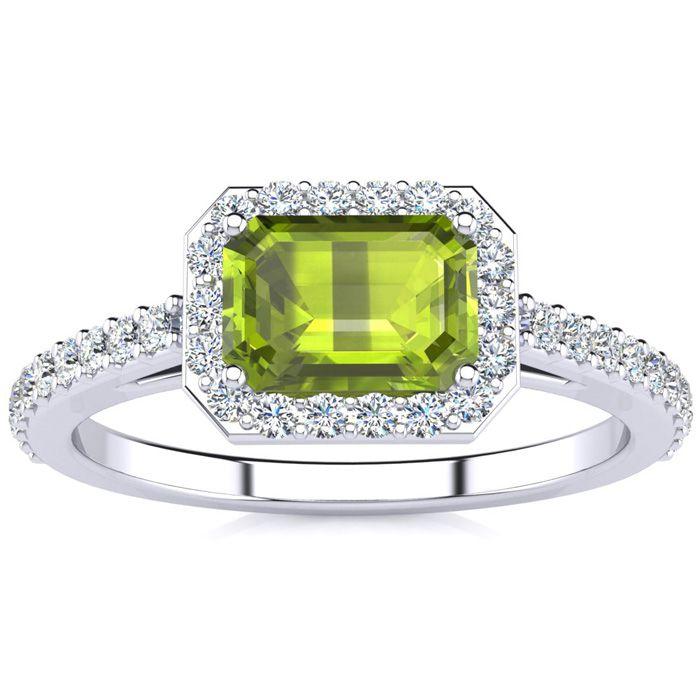 1 1/2 Carat Emerald Shape Peridot and Halo Diamond Ring In 14 Karat White Gold