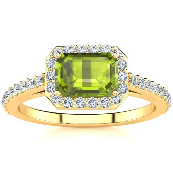 1 1/2 Carat Emerald Shape Peridot and Halo Diamond Ring In 14 Karat Yellow Gold
