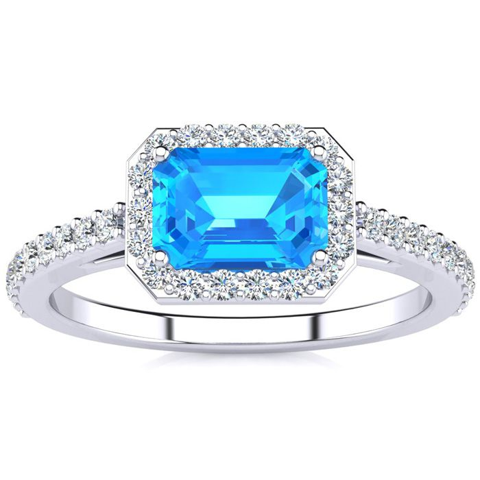 1.5 Carat Blue Topaz & Halo Diamond Ring in 14K White Gold (2.8 g