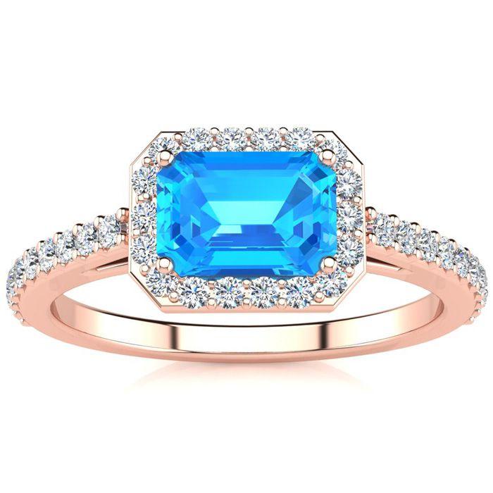 1.5 Carat Blue Topaz & Halo Diamond Ring in 14K Rose Gold (2.8 g)