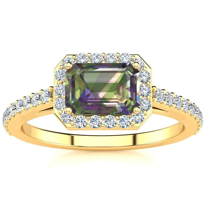 1.25 Carat Mystic Topaz & Halo Diamond Ring in 14K Yellow Gold (2