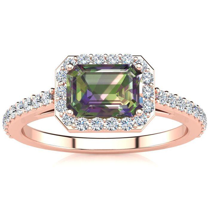 1.25 Carat Mystic Topaz & Halo Diamond Ring in 14K Rose Gold (2.8
