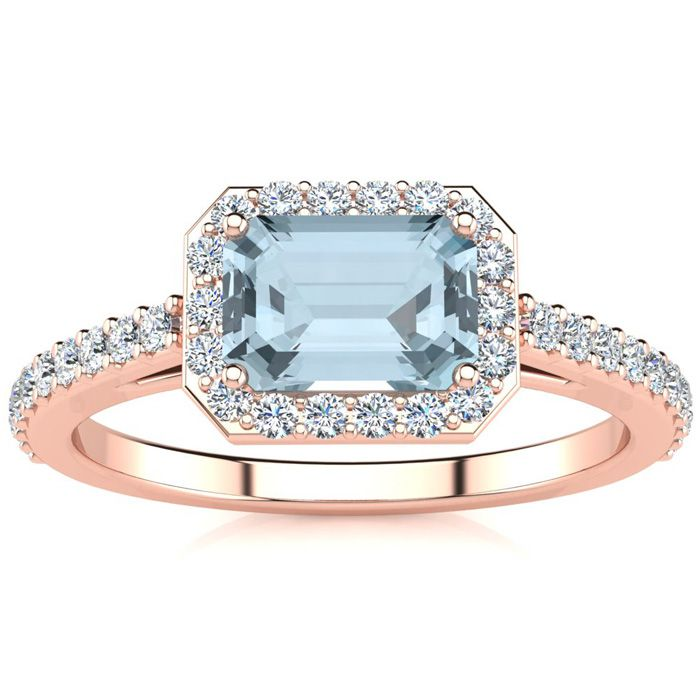 1 1/4 Carat Emerald Shape Aquamarine and Halo Diamond Ring In 14 Karat Rose ..