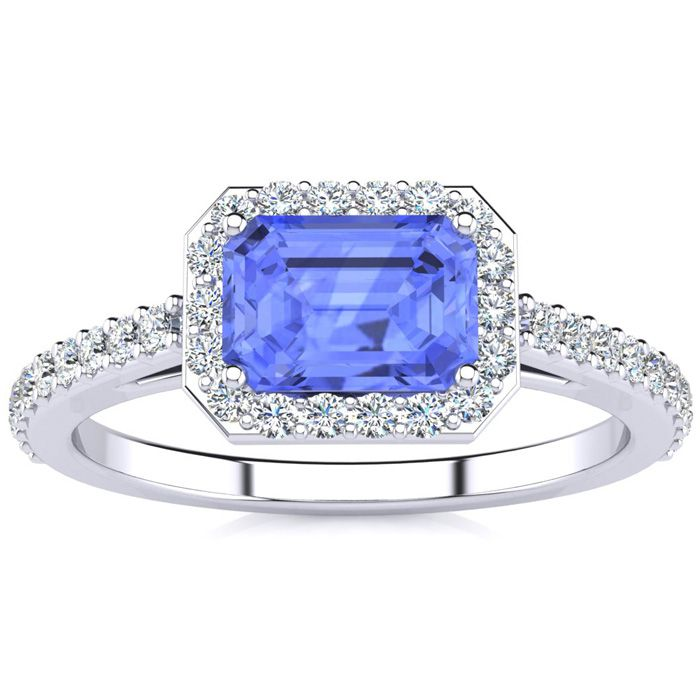 1 1/2 Carat Emerald Shape Tanzanite and Halo Diamond Ring In 14 Karat White Gold