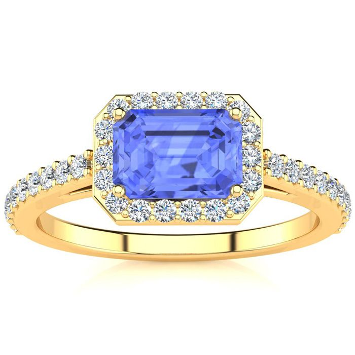 1 1/2 Carat Emerald Shape Tanzanite and Halo Diamond Ring In 14 Karat Yellow Gold