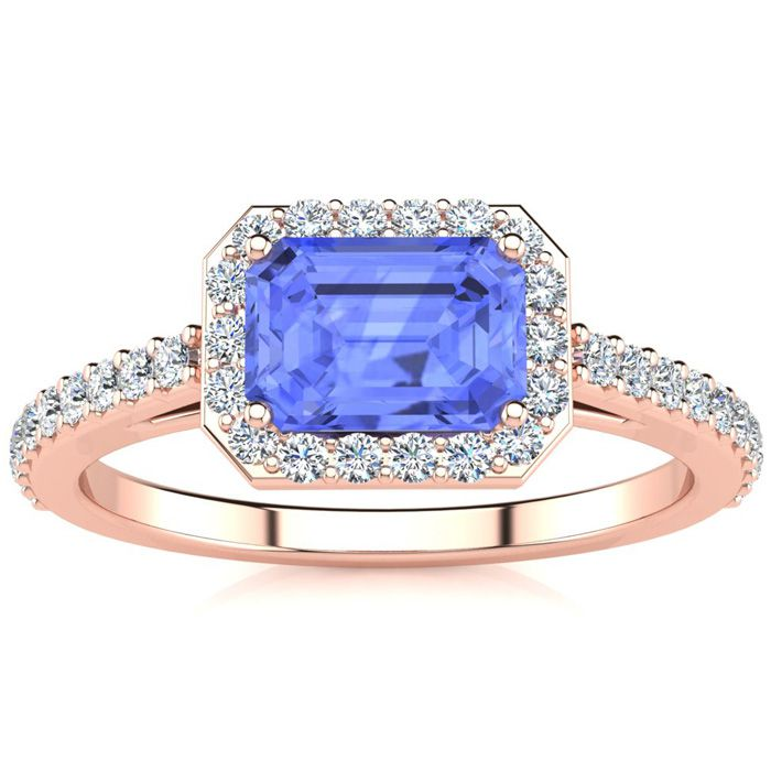 1 1/2 Carat Emerald Shape Tanzanite and Halo Diamond Ring In 14 Karat Rose Gold