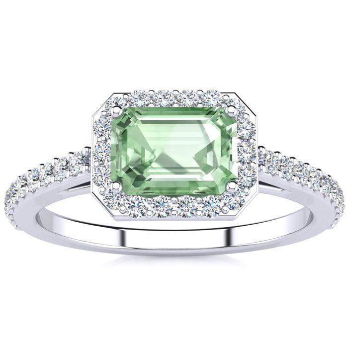 1.25 Carat Green Amethyst & Halo Diamond Ring in 14K White Gold (