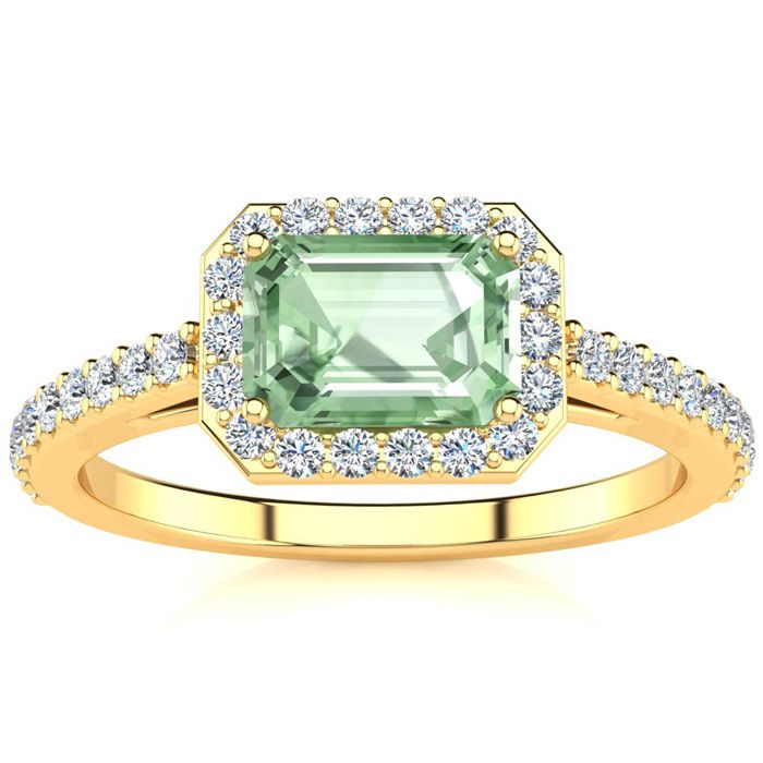 1.25 Carat Green Amethyst & Halo Diamond Ring in 14K Yellow Gold (2.8 g), H/I by SuperJeweler