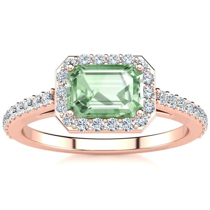 1.25 Carat Green Amethyst & Halo Diamond Ring in 14K Rose Gold (2