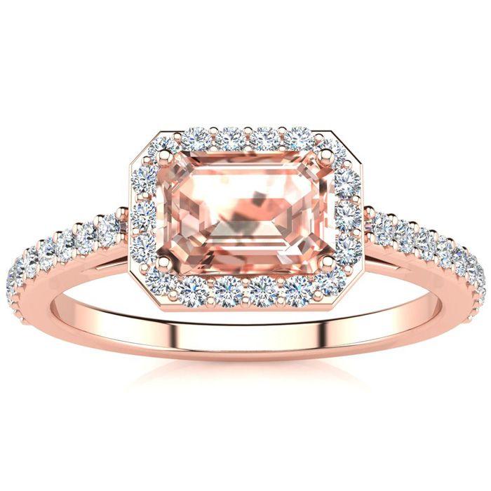 1.25 Carat Morganite & Halo Diamond Ring in 14K Rose Gold (2.8 g)