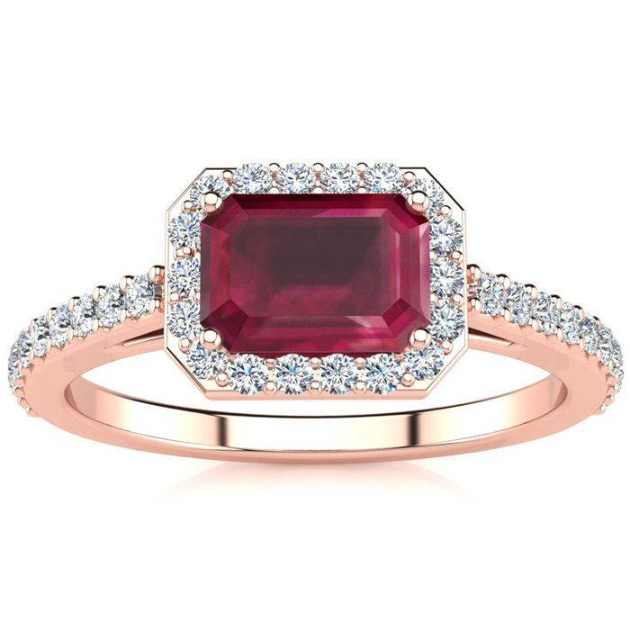 1 1/3 Carat Ruby & Halo Diamond Ring in 14K Rose Gold (2.8 g), H/