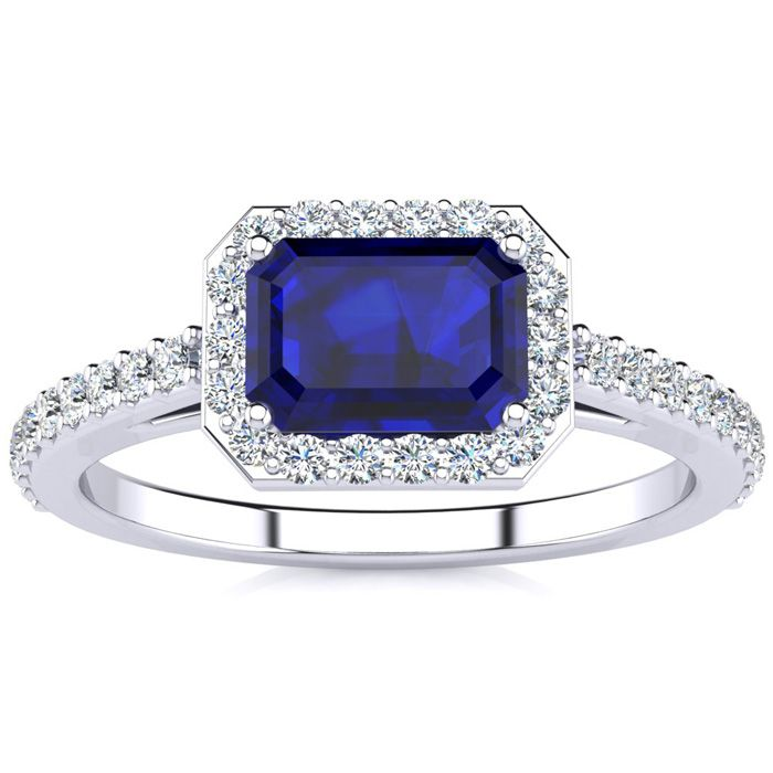 1.5 Carat Sapphire & Halo Diamond Ring in 14K White Gold (2.8 g),