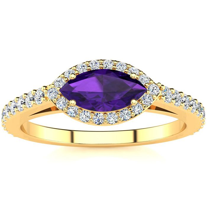 3/4 Carat Marquise Shape Amethyst & Halo Diamond Ring in 14K Yell