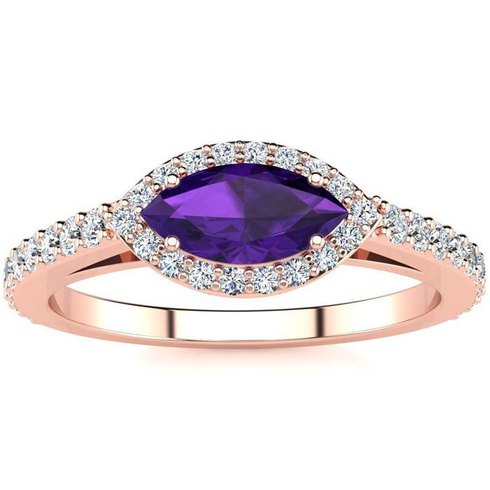 3/4 Carat Marquise Shape Amethyst & Halo Diamond Ring in 14K Rose