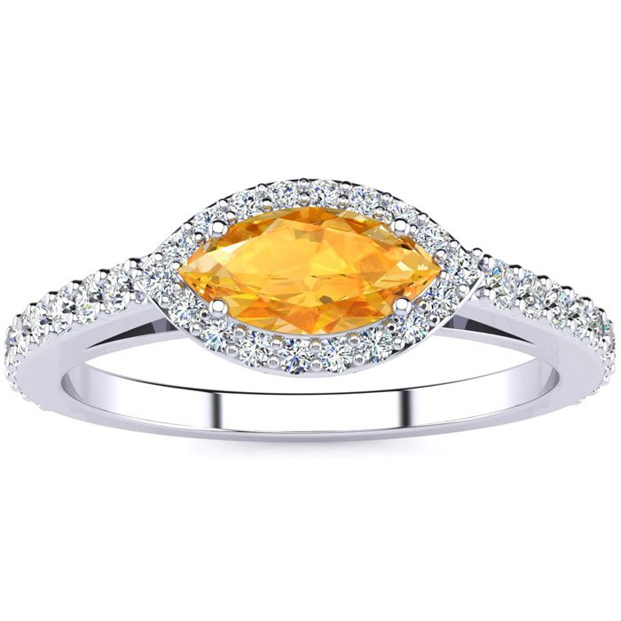 3/4 Carat Marquise Shape Citrine & Halo Diamond Ring in 14K White