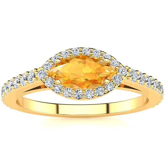 3/4 Carat Marquise Shape Citrine & Halo Diamond Ring in 14K Yellow Gold (2.7 g), H/I by SuperJeweler