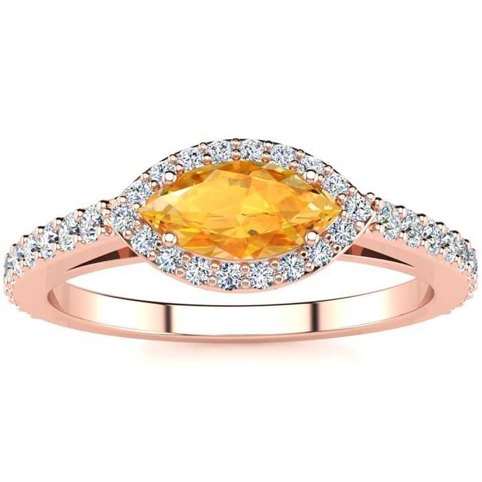 3/4 Carat Marquise Shape Citrine & Halo Diamond Ring in 14K Rose