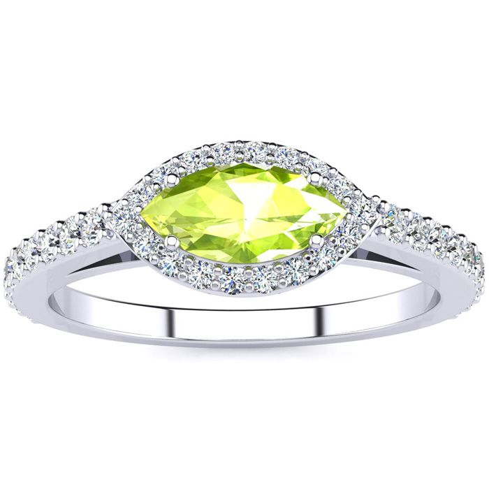 3/4 Carat Marquise Shape Peridot & Halo Diamond Ring in 14K White