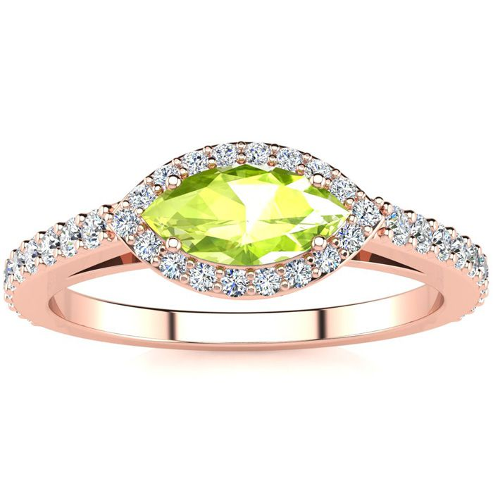 3/4 Carat Marquise Shape Peridot & Halo Diamond Ring in 14K Rose