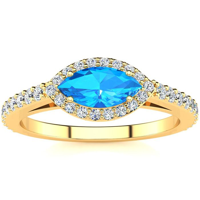 1 Carat Marquise Shape Blue Topaz & Halo Diamond Ring in 14K Yell
