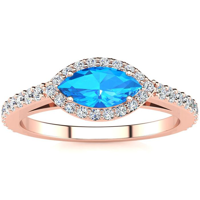1 Carat Marquise Shape Blue Topaz & Halo Diamond Ring in 14K Rose