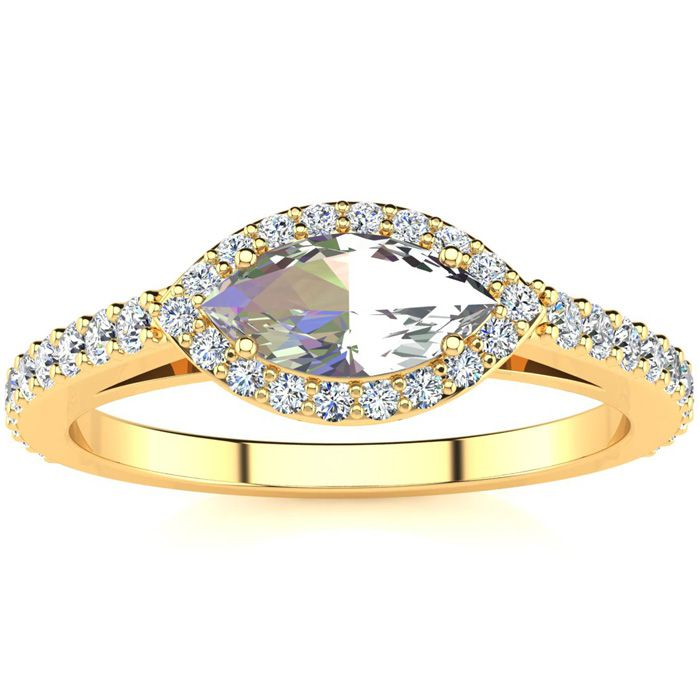 3/4 Carat Marquise Shape Mystic Topaz & Halo Diamond Ring in 14K Yellow Gold (2.7 g), H/I by SuperJeweler
