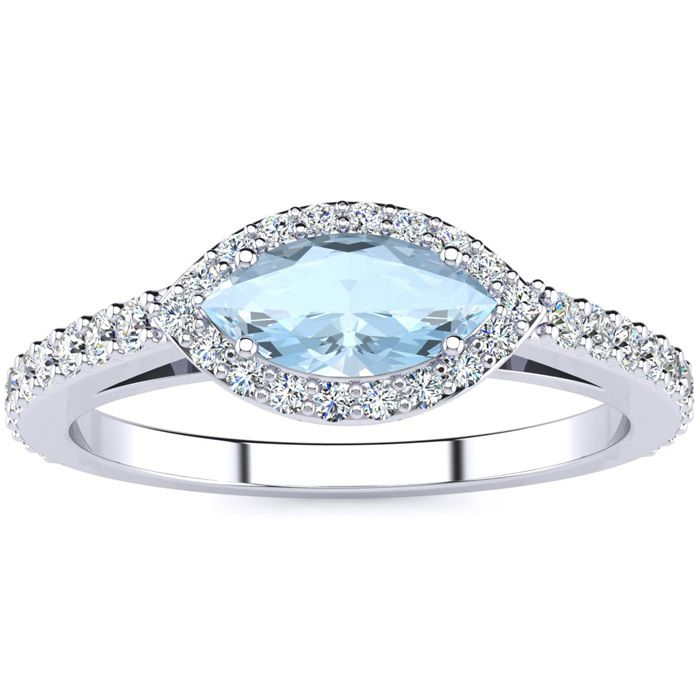 3/4 Carat Marquise Shape Aquamarine & Halo Diamond Ring in 14K Wh