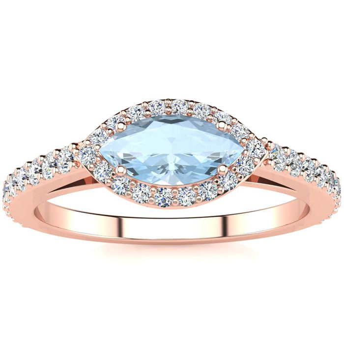 3/4 Carat Marquise Shape Aquamarine & Halo Diamond Ring in 14K Ro