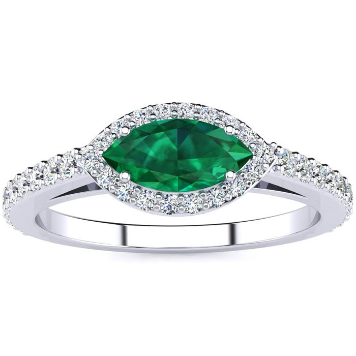 3/4 Carat Marquise Shape Emerald Cut & Halo Diamond Ring in 14K W
