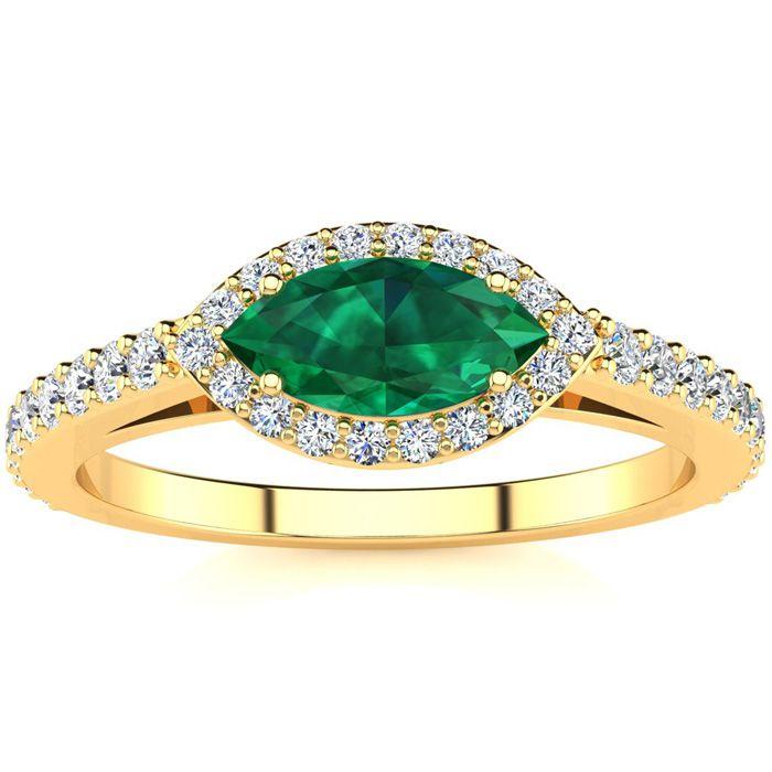 3/4 Carat Marquise Shape Emerald Cut & Halo Diamond Ring in 14K Y