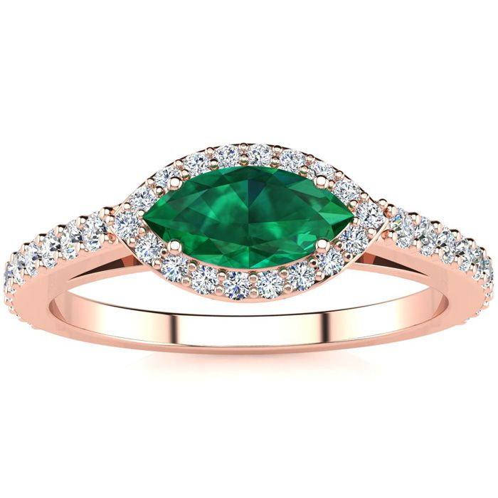 3/4 Carat Marquise Shape Emerald Cut & Halo Diamond Ring in 14K R