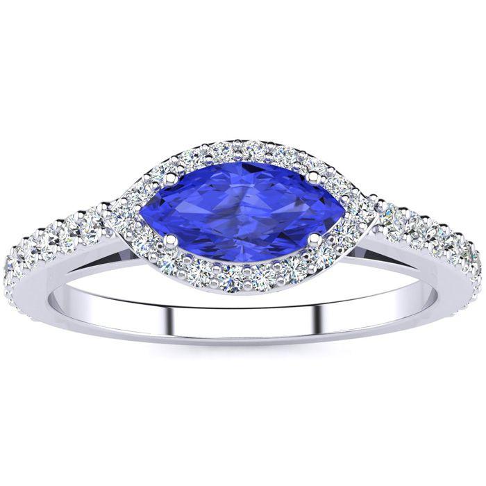 3/4 Carat Marquise Shape Tanzanite & Halo Diamond Ring in 14K White Gold (2.7 g), H/I by SuperJeweler