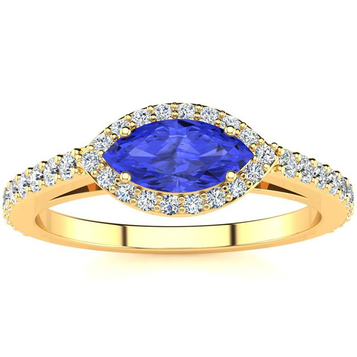 3/4 Carat Marquise Shape Tanzanite & Halo Diamond Ring in 14K Yel