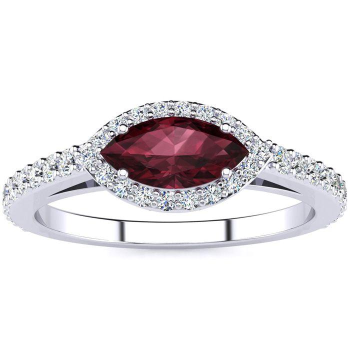 1 Carat Marquise Shape Garnet & Halo Diamond Ring in 14K White Gold (2.7 g), H/I by SuperJeweler