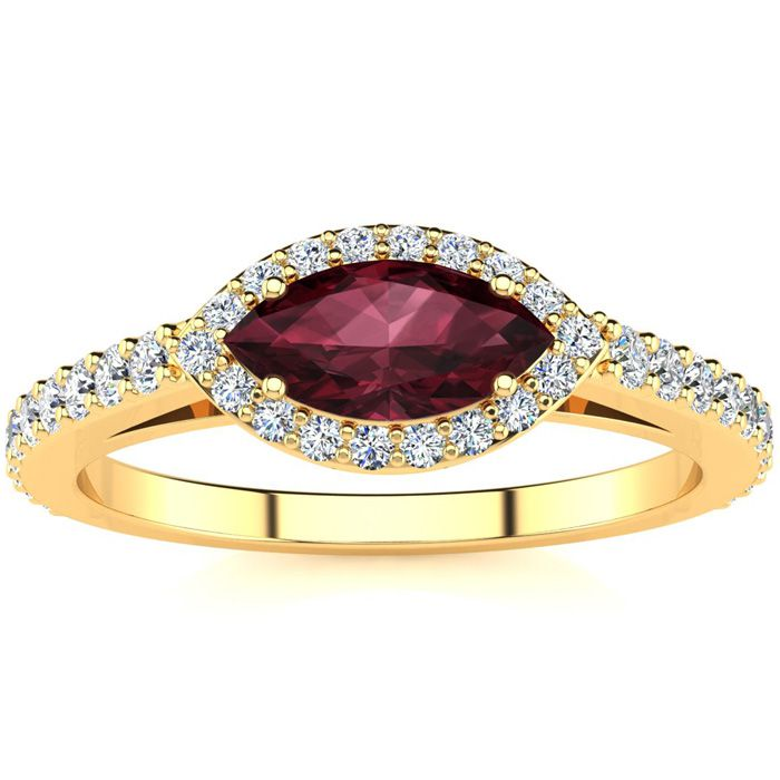 1 Carat Marquise Shape Garnet & Halo Diamond Ring in 14K Yellow G
