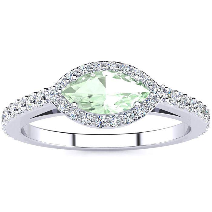 3/4 Carat Marquise Shape Green Amethyst & Halo Diamond Ring in 14K White Gold (2.7 g), H/I by SuperJeweler