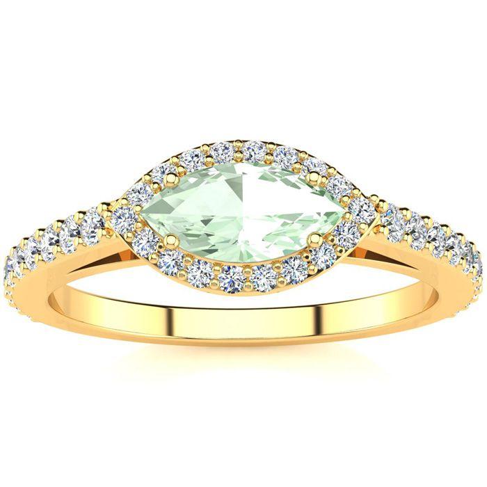 3/4 Carat Marquise Shape Green Amethyst & Halo Diamond Ring in 14