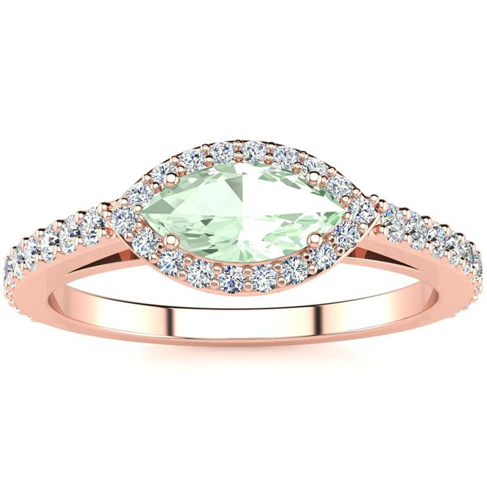 3/4 Carat Marquise Shape Green Amethyst & Halo Diamond Ring in 14K Rose Gold (2.7 g), H/I by SuperJeweler
