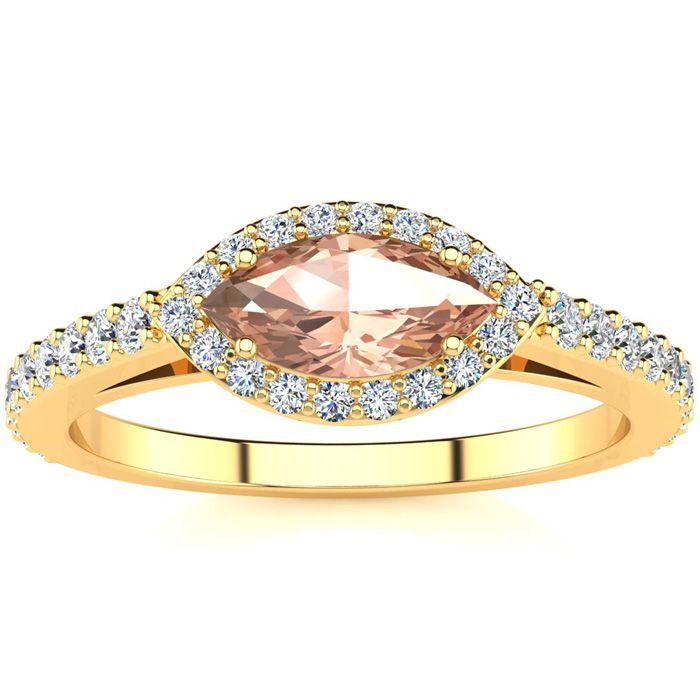3/4 Carat Marquise Shape Morganite & Halo Diamond Ring in 14K Yel