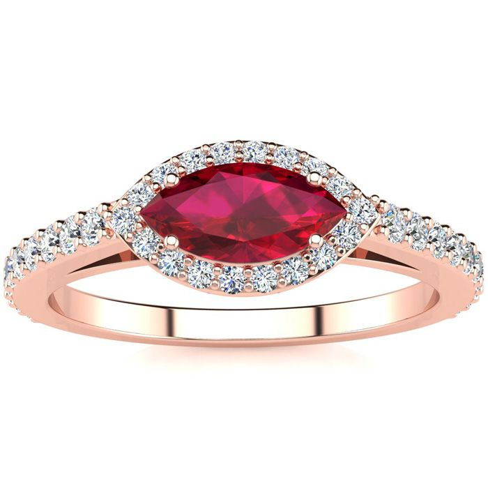 1 Carat Marquise Shape Ruby & Halo Diamond Ring in 14K Rose Gold