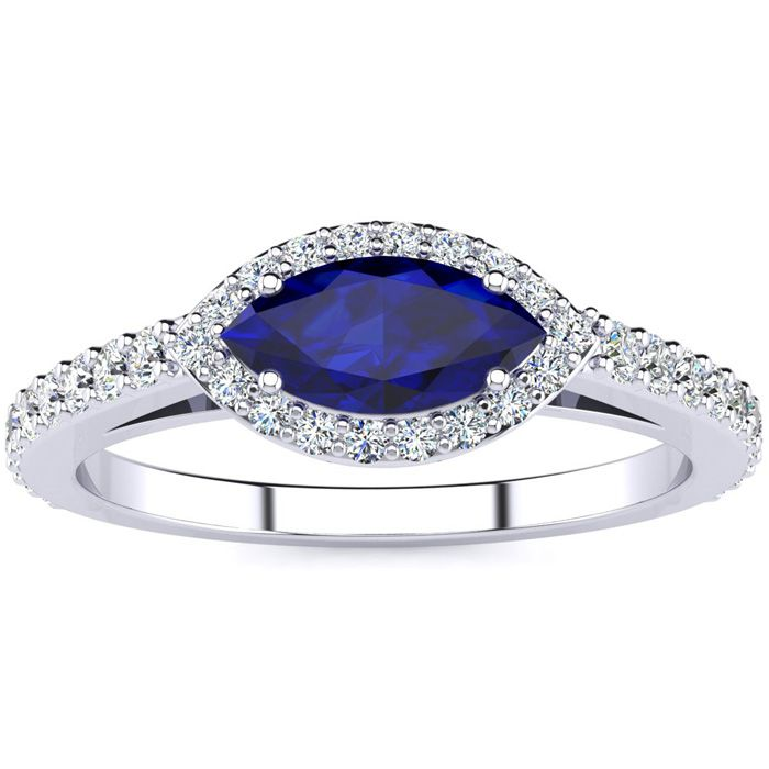 1 Carat Marquise Shape Sapphire & Halo Diamond Ring in 14K White